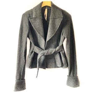 Bailey 44 Gray Fuzzy Open Front Belted Jacket